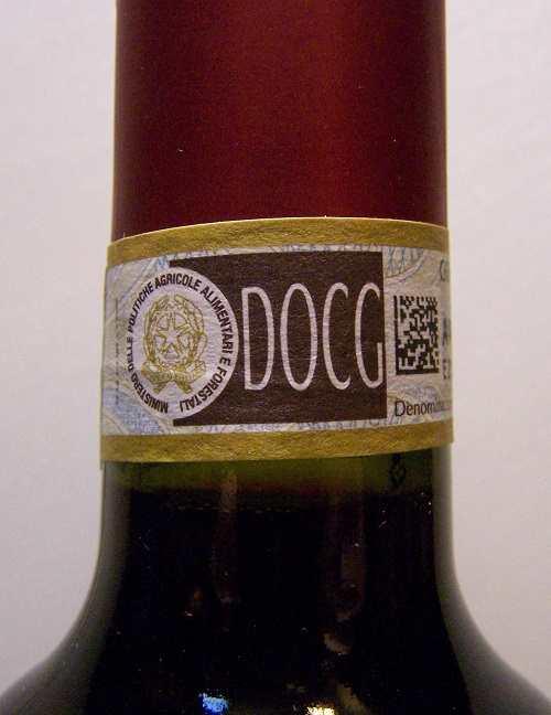 Nhãn DOCG trên chai rượu vang ý