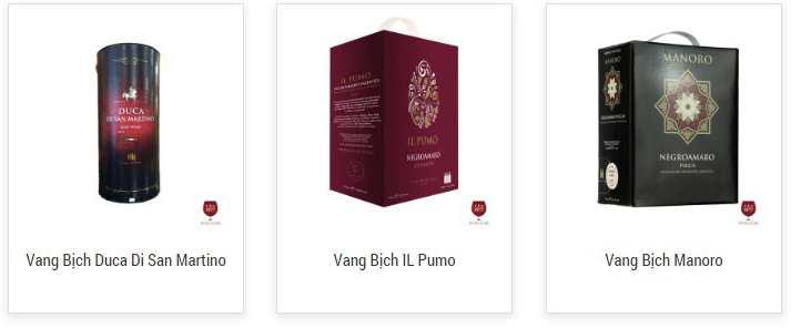 các sản phẩm rượu vang bịch ý