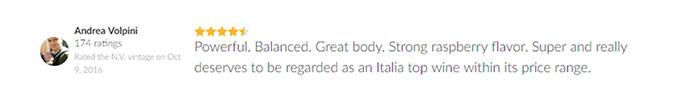 đánh giá của khách hàng về rượu vang 60 Sessantanni 1