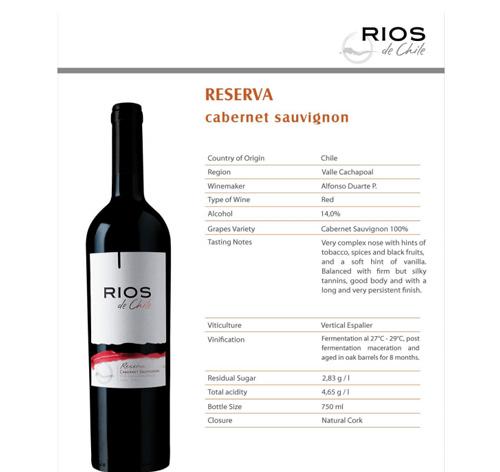 đặc điểm vang Rios Reserva Cabernet Sauvignon