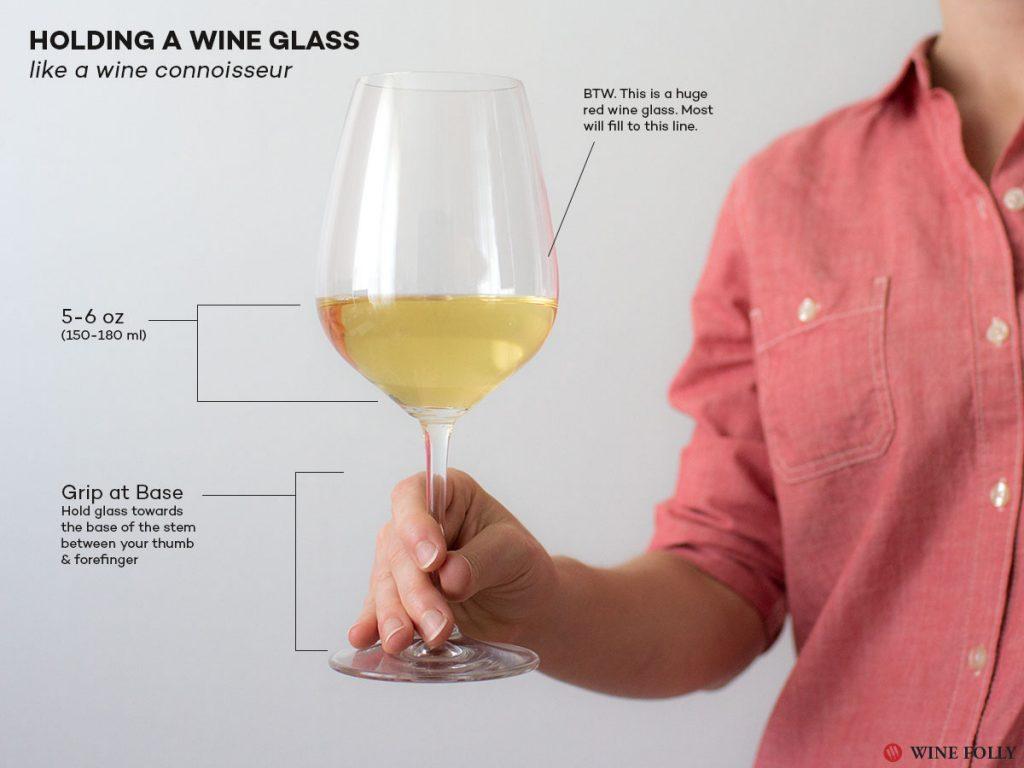 cách cầm ly rượu vang khi uống